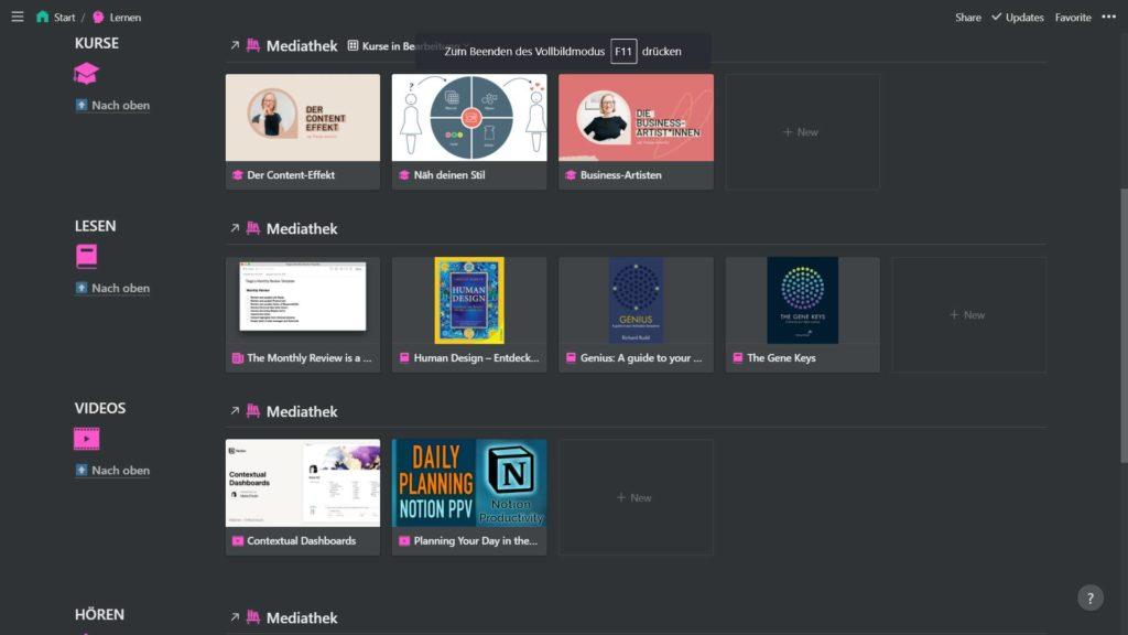 Mein Lernen-Dashboard in Notion, das mir als Übersicht anzeigt, mit welchen Medien ich mich gerade weiterbilde.