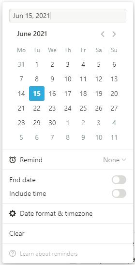 Notion-Tutorial für Anfänger: Auswahlfeld für Datum und Uhrzeit