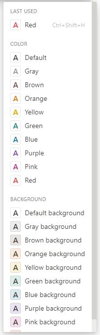 Farbauswahl beim Formatieren von Text in Notion