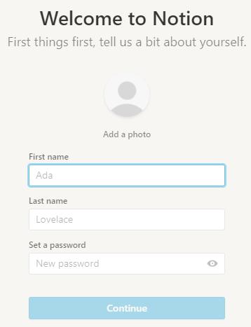 Dialog zur Angabe der persönlichen Daten bei der Registrierung in Notion