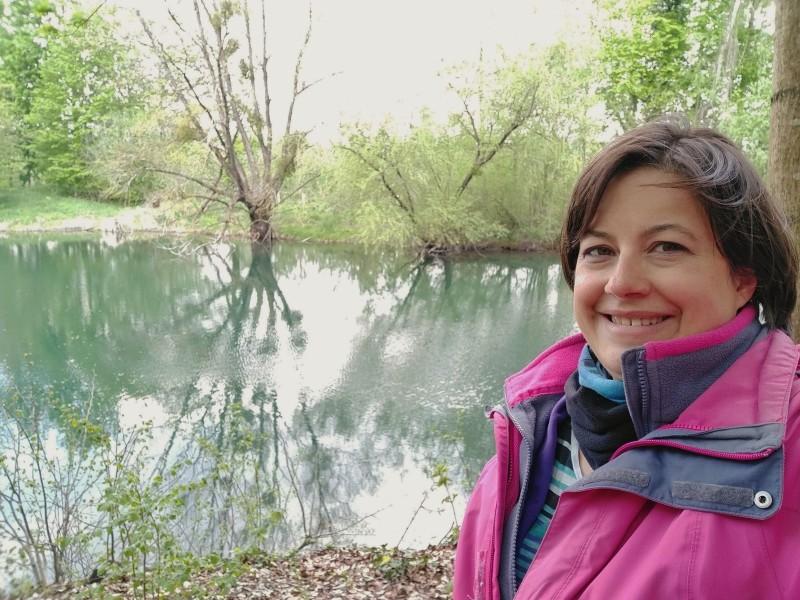 Selfie auf der Wanderung durch die Rheinauen