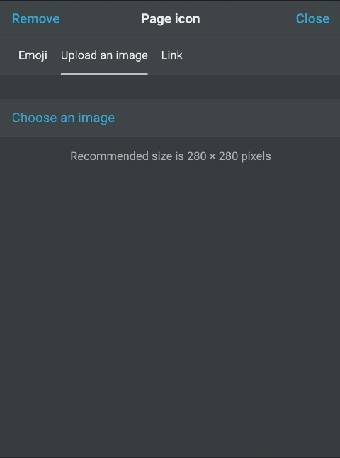 Icon-Auswahldialog in Notion - Bilddatei hochladen