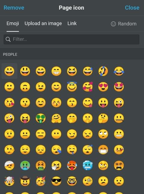 Icon-Auswahldialog in Notion - Emojis