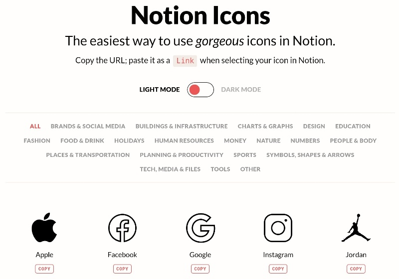 Eigene Icons in Notion von Notion.vip