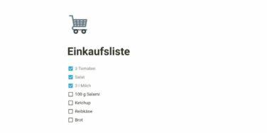 Einkaufsliste in Notion, die ersten drei Artikel sind schon abgehakt