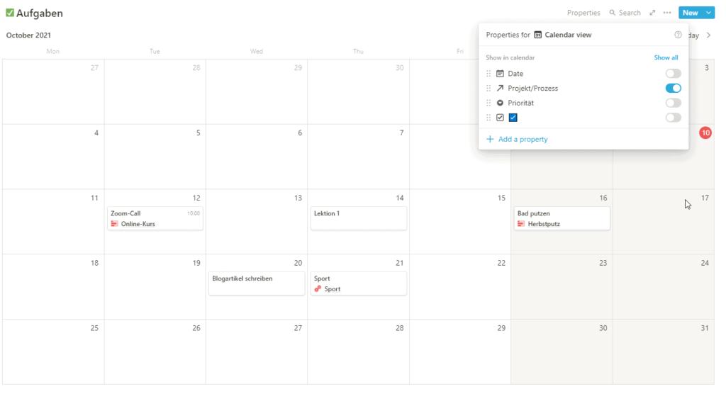 Die Kalenderansicht der Aufgabendialog, das Projekt-Property ist eingeblendet