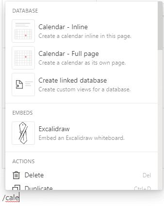Dialog in Notion, um einen neuen Block als Datenbank mit Kalender-View zu erstellen