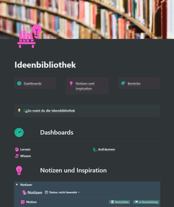 Die Startseite der Ideenbibliothek